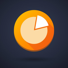 Long shadow icon with a pie chart