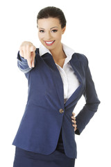 Businesswoman pointing on you