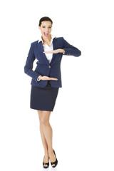 Businesswoman gesturing frame