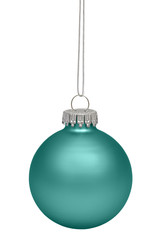 Green christmas bauble isolated on white background