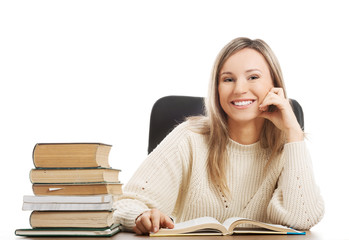 Happy woman because of studying