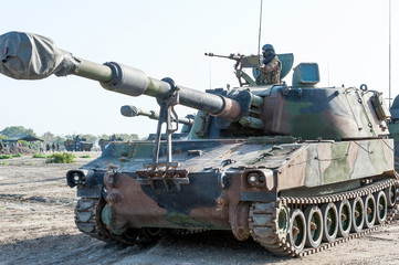 Tank on a beach on Nato Military Training Exercises in Spain