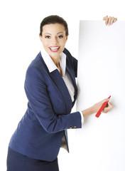 Businesswoman holding white banner