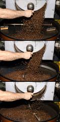sequenza caduta caffè in una torrefazione