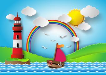 yacht on sea with sun bream and rainbow