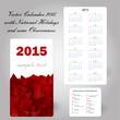 usa red calendar card 2015 in triangular design - copy space
