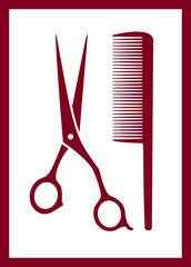 comb, scissors silhouette - hair care icon