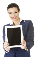 Businesswoman holding a tablet