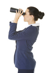 Businesswoman with a binocular