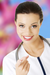 Female doctor wearing stethoscope