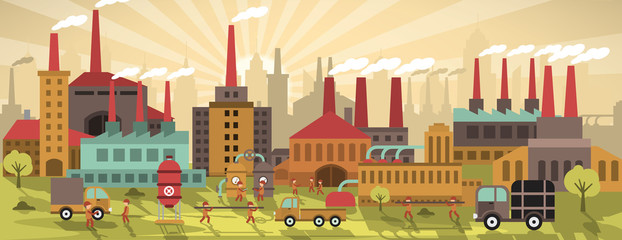 Factory in the city (retro colors)