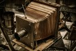 Retro wooden photo camera