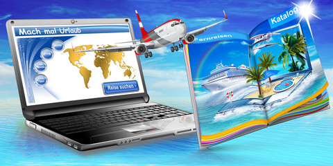Urlaub online buchen, Reisekatalog, Passagierflugzeug, Laptop, f