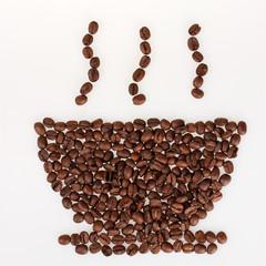 Coffee beans shaped like smokin cup of coffee