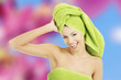 Young woman with a towel on head