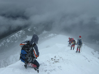 Climbers Entering The Snow Abyss