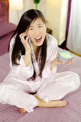 Chinese woman angry on the phone being late for work