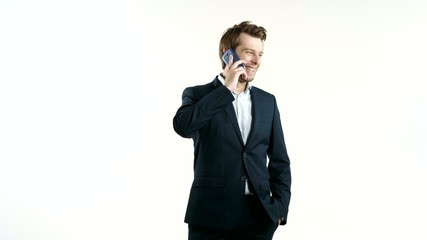 Cheerful manager talking on the phone