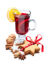 Glass of hot red mulled wine