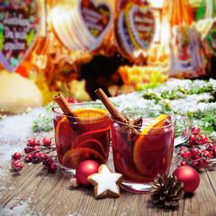 Mulled wine on german christkindl markt