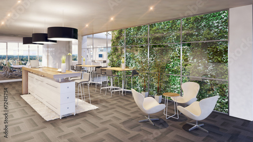 canvas print picture office lounge with vertical garden