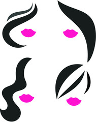 Woman hair and pink lips icon set