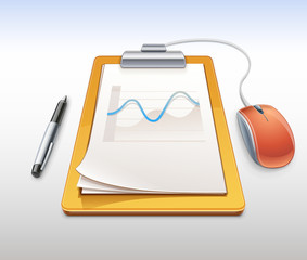 Clipboard with pen and computer mouse