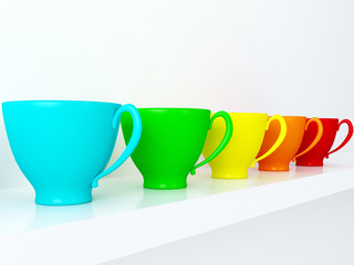 Ceramic cups on the shelf.