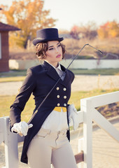 beautiful girl jockey posing