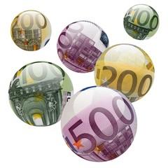 Boules 100, 200 et 500 euros