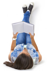 Teenager girl reading book