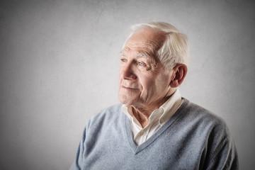 Elderly man looking away