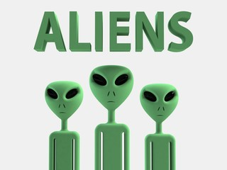 Aliens 3D effect rendering on white background