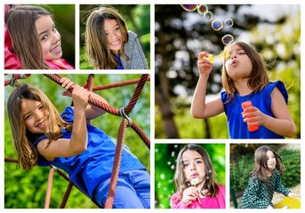 collage of young children playing outdoors