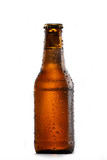 Cold bottle of beer on white background