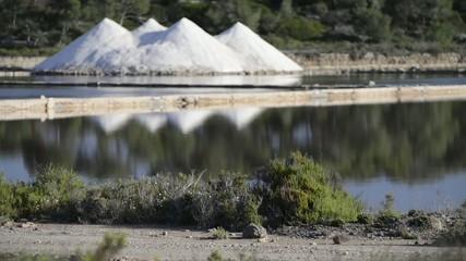 Saltworks near the sea in Mallorca, at Mediterranean Sea, Balear