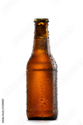 Foto op Canvas Bier / Cider Cold bottle of beer on white background