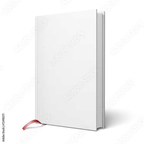 Blank vertical book with bookmark template. - 72418371