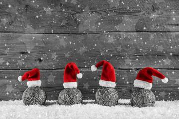 Frohe Weihnachten: Weihnachtlicher Holz Hintergrund mit Rot
