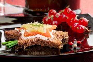 canapé with smoked salmon