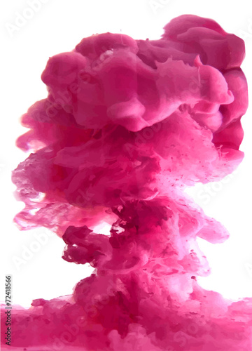 Foto op Canvas Rook Pink cloud of ink
