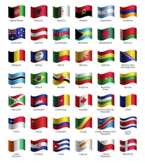 Set of buttons with flags