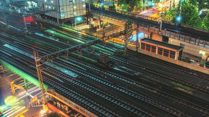 Colorful Tokyo Trains and Traffic Night Time Lapse