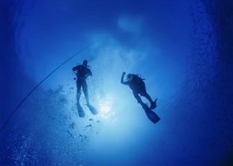 Mediterranean Sea, scuba divers decompressing after a dive