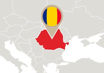 Romania on Europe map