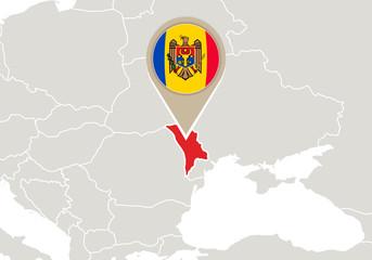 Moldova on Europe map