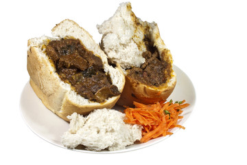 Two South African Mutton Bunny Chows with Carrot Sambal