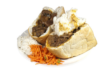 Traditional South African Mutton Bunny Chows with Sambal