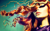 Fototapety Fashion Model Woman Portrait with Long Curly Red Hair
