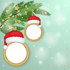Christmas frames over snowflakes background